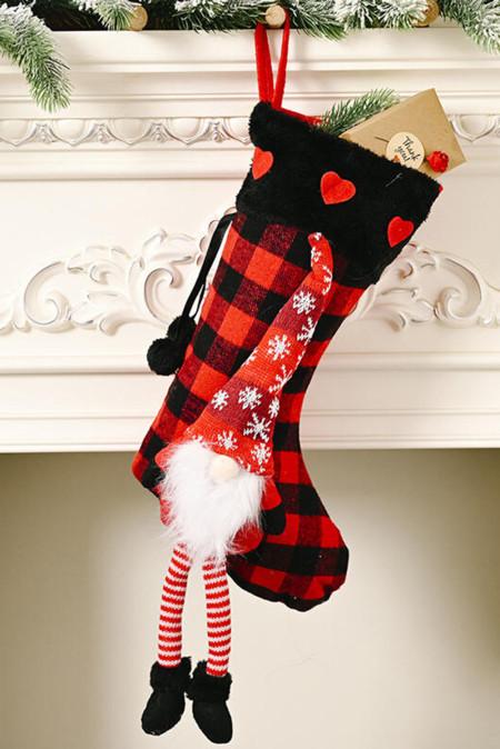 الأحمر عيد الميلاد منقوشة جنوم ندفة الثلج القلب شنقا زخرفة جورب