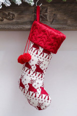 White Pompom Christmas Hanging Decor Sock