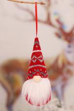 Ornamento de suspensão de árvore de natal de gnomo sem rosto de natal vermelho