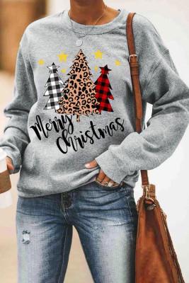 Frohe Weihnachten Plaid Leopard Tree Pattern Sweatshirt