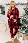Red Plaid Pocket Drawstring Christmas Hooded Lounge Sets