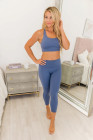 Blue Crisscross Back Sports Bra Leggings Set
