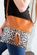 Vegan Leather Leopard Patchwork Crossbody