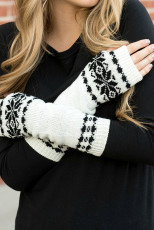 White Snowflake Print Knit Warm Gloves