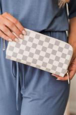 Carteira de couro faux xadrez atemporal branca