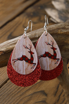 Dubbellaags kerst eland oorbellen