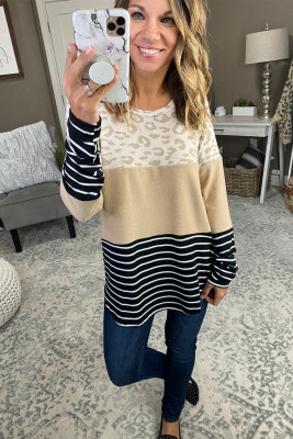 Apricot Leopard and Stripe Color Block Long Sleeve Top