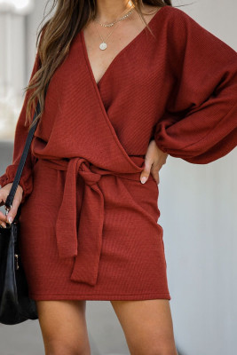 Red V Neck Ribbed Sweater Dress