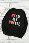 Sudadera negra con capucha Need My Coffee