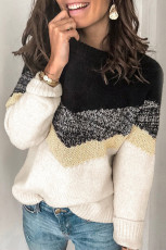 Black V Stripe Pattern Colorblock Sweater