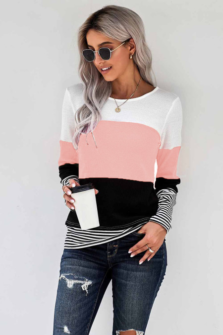 Pink Stylish Colorblock Splicing Stripes Top