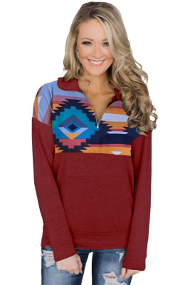 Red Turn Down Collar Zip Tribal Print Sweatshirt