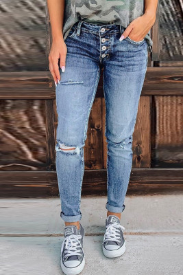 Blue Hollow Out Button-fly Distressed Jeans