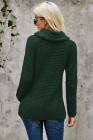 Olive Green Buttoned Wrap Turtleneck Sweater