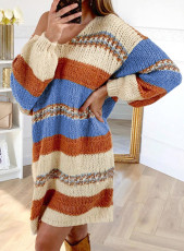 Multicolor Color Block Cable Knit Sweater Dress