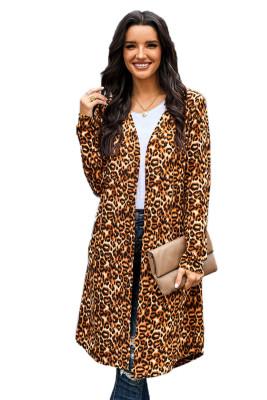 Cárdigan largo con estampado de leopardo clásico