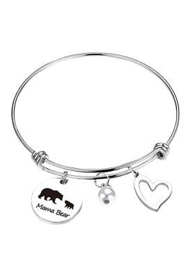 Twee beren kralen zilverkleurige verstelbare armband