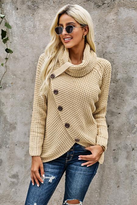 Бежевый свитер с капюшоном на пуговицах