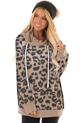 Sudadera casual con cordón y estampado de leopardo