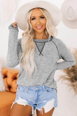Haut à manches longues en tricot hachis à coutures contrastées gris