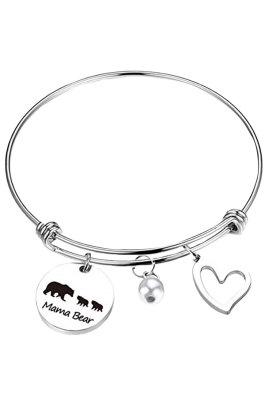 Drie beren kralen zilverkleurige verstelbare armband