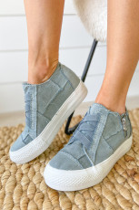 Gray Contrast Stitching Elastic Upper Vamp Canvas