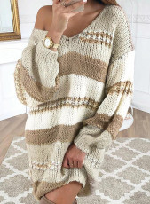 Beige Color Block Cable Knit Sweater Dress