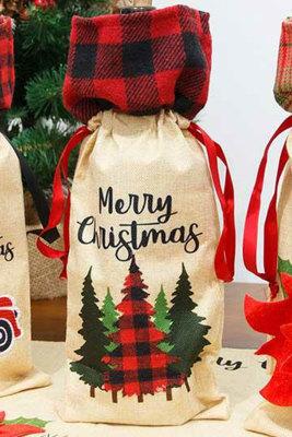 Merry Christmas Plaid Tree wijnfles tas