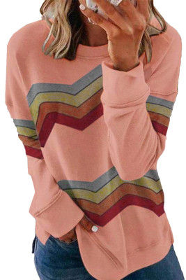 Pink Color Block Klassisches Sweatshirt
