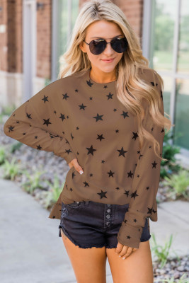 Khaki Round Neck Star Print Long Sleeve Top