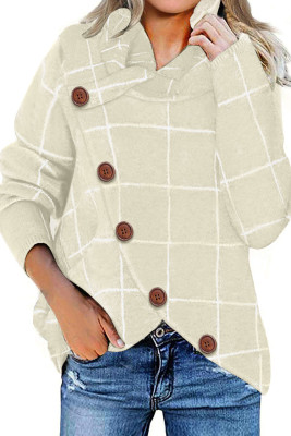 Khaki Button Wrap Turtleneck Pullover Plaid Print Knit Sweater