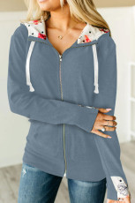 Full Zip Hoodie Coat with Floral Print Hooded Inner
