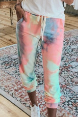Pantalon rose à cordon de serrage tie-dye color block