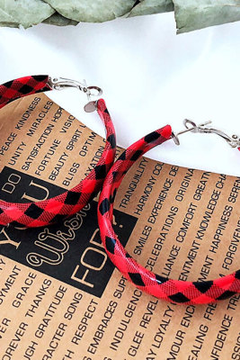 Faux Leather Red Plaid Earrings