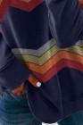 Pull molletonné classique à blocs de couleurs bleu