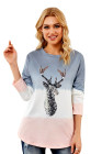 Rentierdruck Farbverlauf Farbblock Sweatshirt