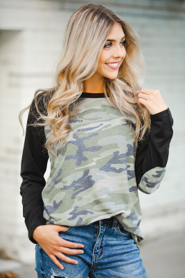 Green Camo Long Sleeve Top with Elbow Patches