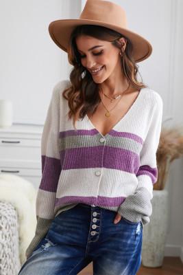 Suéter de punto morado con cuello en V y cierre de botones en bloques de color