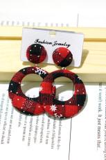 Anting Lingkaran Natal Tekstur Kotak-kotak Merah