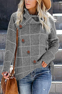 Gray Button Wrap Turtleneck Pullover Plaid Print Knit Sweater