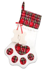 Red Dog Claw Bone Shape Christmas Plaid Print Hanging Sock
