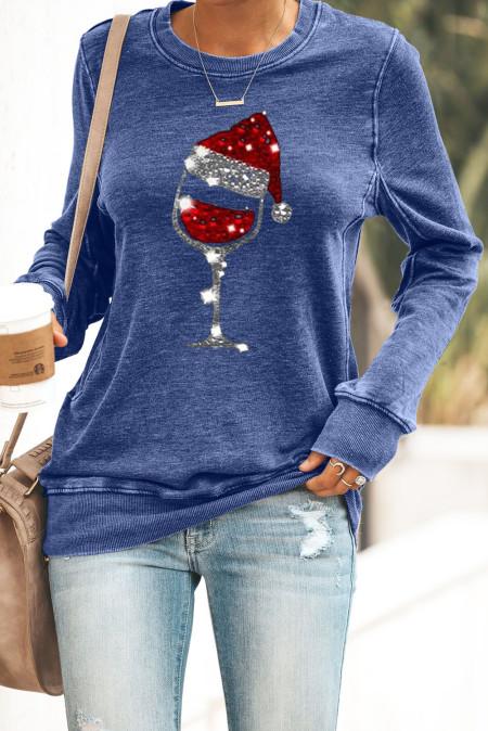 Grün / Grau / Blau Weihnachtsmütze Weinglas Print Pailletten Sweatshirt