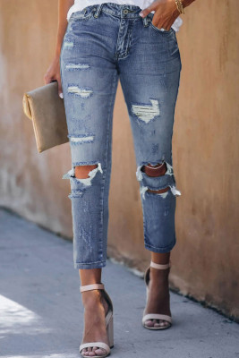 Sky Blue Fading Distressed Holes Crop Jeans