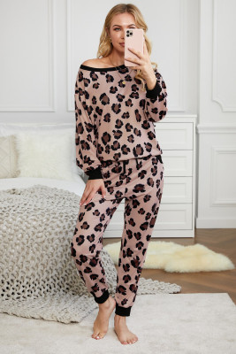 Pink Leopard Print Long Sleeve Pants Loungewear Set
