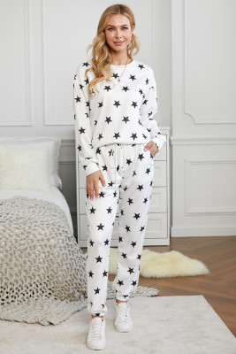 White Crew Neck Star Print Drawstring Loungewear Set with Pocket