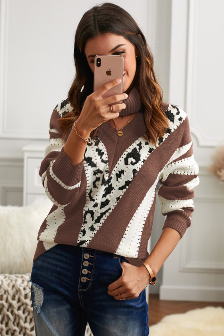 Brown V Neck Striped Sweater