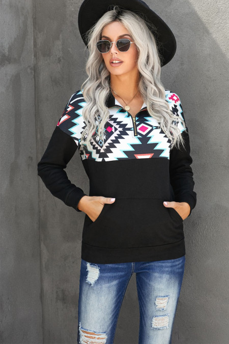 Black Turn Down Collar Zip Tribal Print Sweatshirt