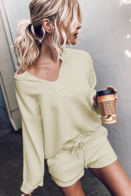 Beige Inverted Knit Pullover Shorts Set