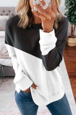 Sort patchwork-faldet skulderærmet sweatshirt