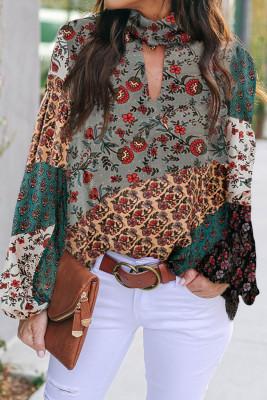 Блузка с разноцветным принтом Keyhole и Mock Neck